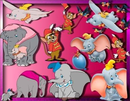 Клипарты на прозрачном фоне - Слоненок Дамбо